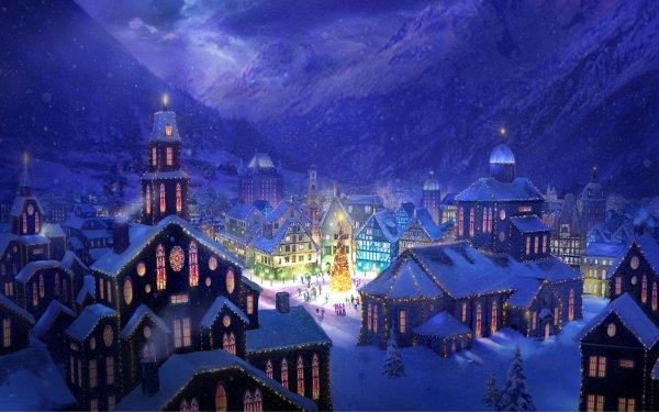 Holiday Christmas City Winter Christmas Tree HD Wallpaper | Background Image