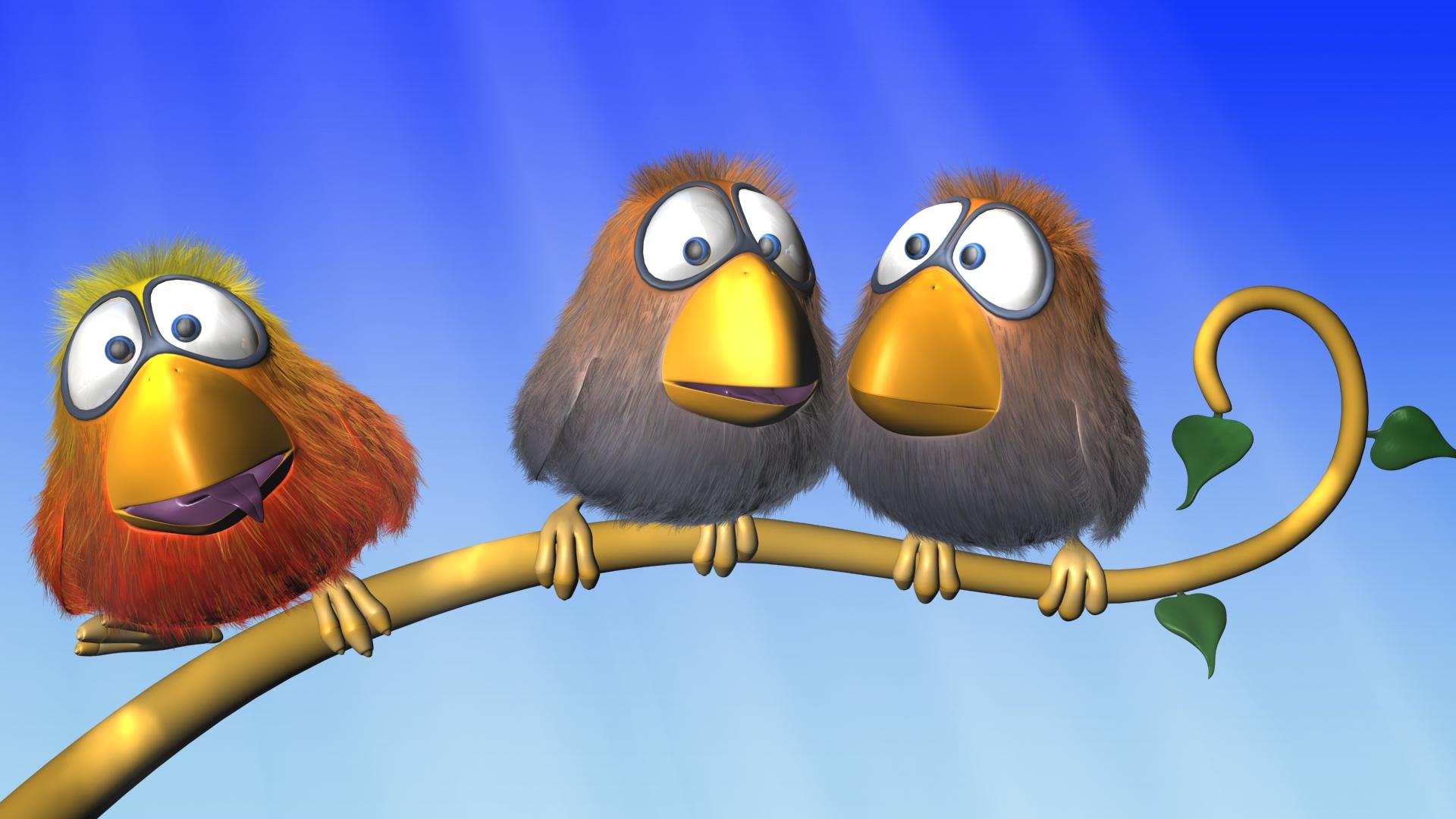 Papel De Parede Cartoon: Cartoon Birds Full HD Papel De Parede And Planos De Fundo