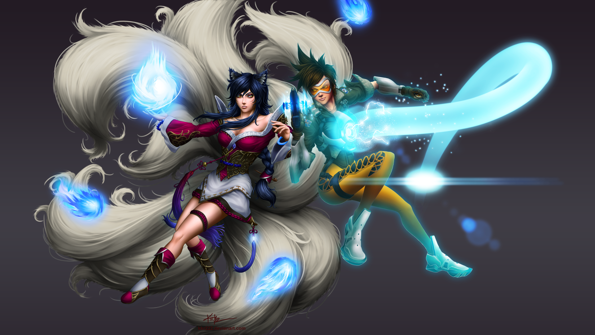 Image Result For Video Game Crossover Flame Tracer Overwatch League Of Legends Ahri Wallpaper