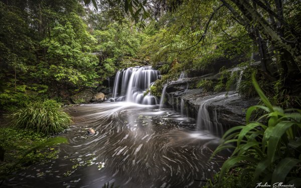 Earth Waterfall Waterfalls Creek Australia Nature Forest Rock Stream HD Wallpaper | Background Image