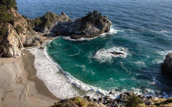 Earth Big Sur Seashore McWay Falls Sea California Waterfall HD Wallpaper   Background Image