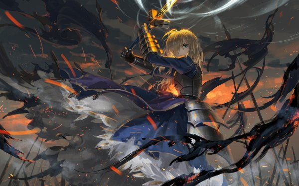 Anime Fate/Stay Night Fate Series Saber Woman Warrior Blonde Sword Excalibur Armor HD Wallpaper | Background Image