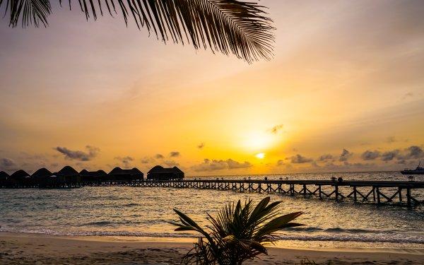 Photography Sunset Constance Halaveli Resort Maldives Resort Holiday Tropics Pier Sun Sky Sea Beach Seascape HD Wallpaper   Background Image