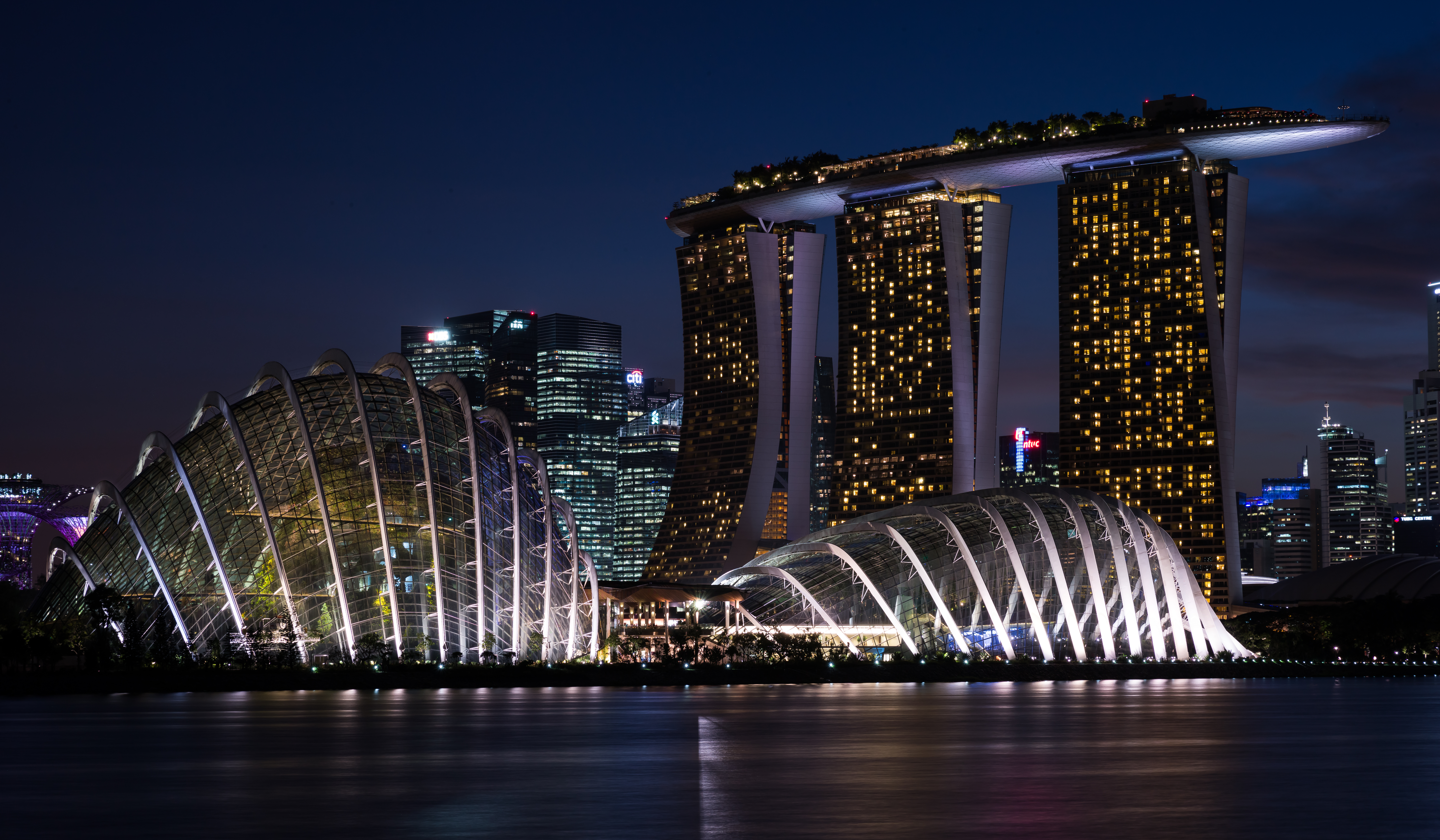 night view of gardensthe bay 5k retina ultra hd wallpaper and