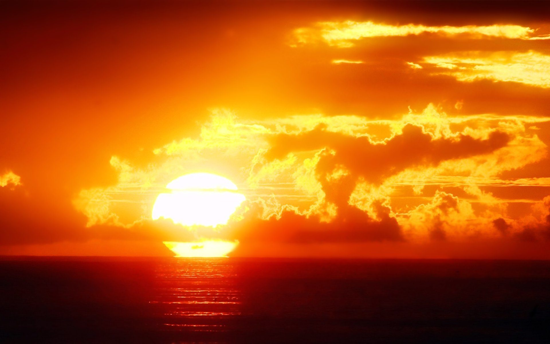 Earth - Sunset  Sun Landscape Orange Ocean Sea Nature Earth Cloud Sky Wallpaper
