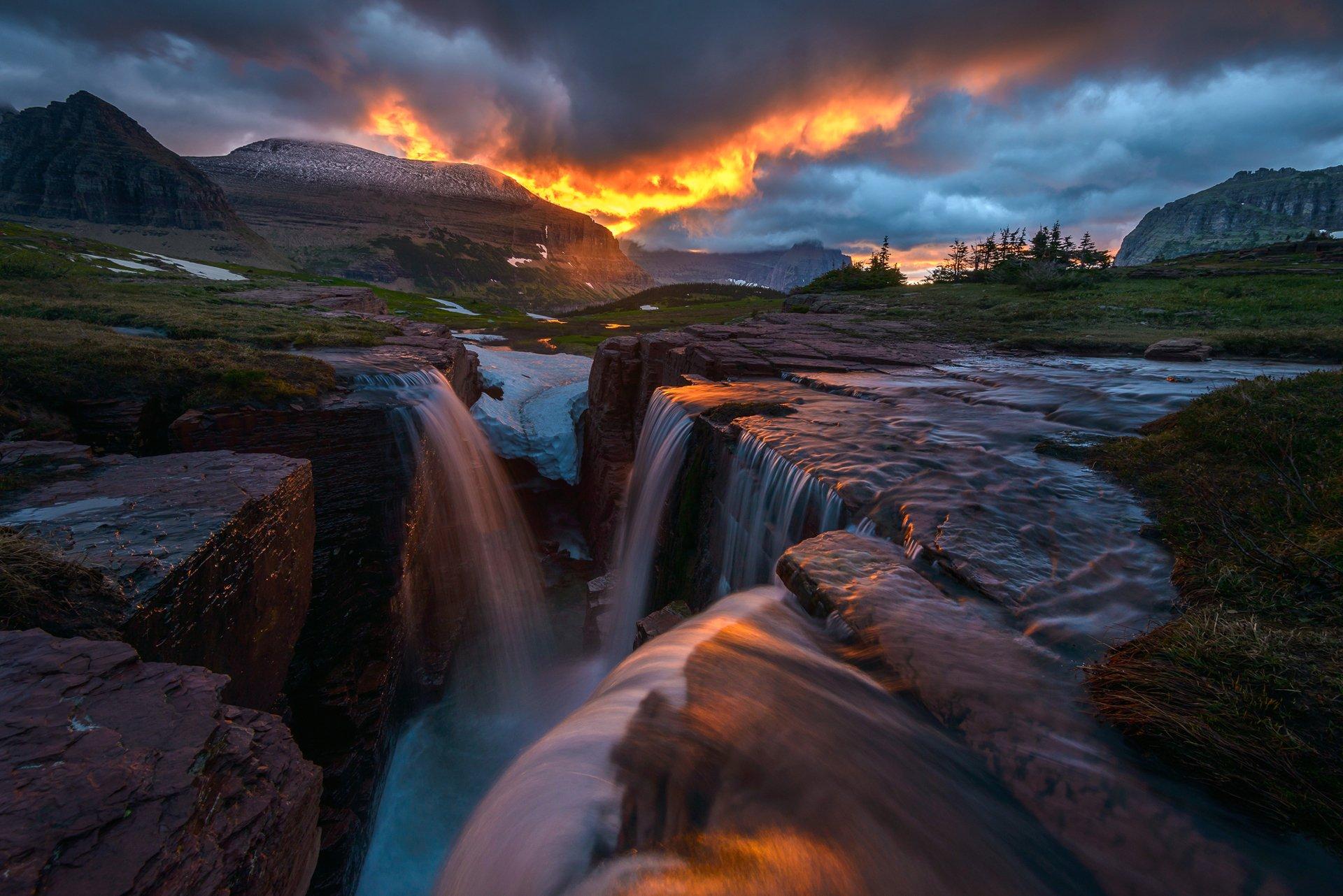 Водопад горы небо  № 5319 бесплатно