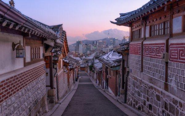 Man Made Seoul Cities South Korea Bukchon Hanok Korea Street House Architecture HD Wallpaper | Background Image