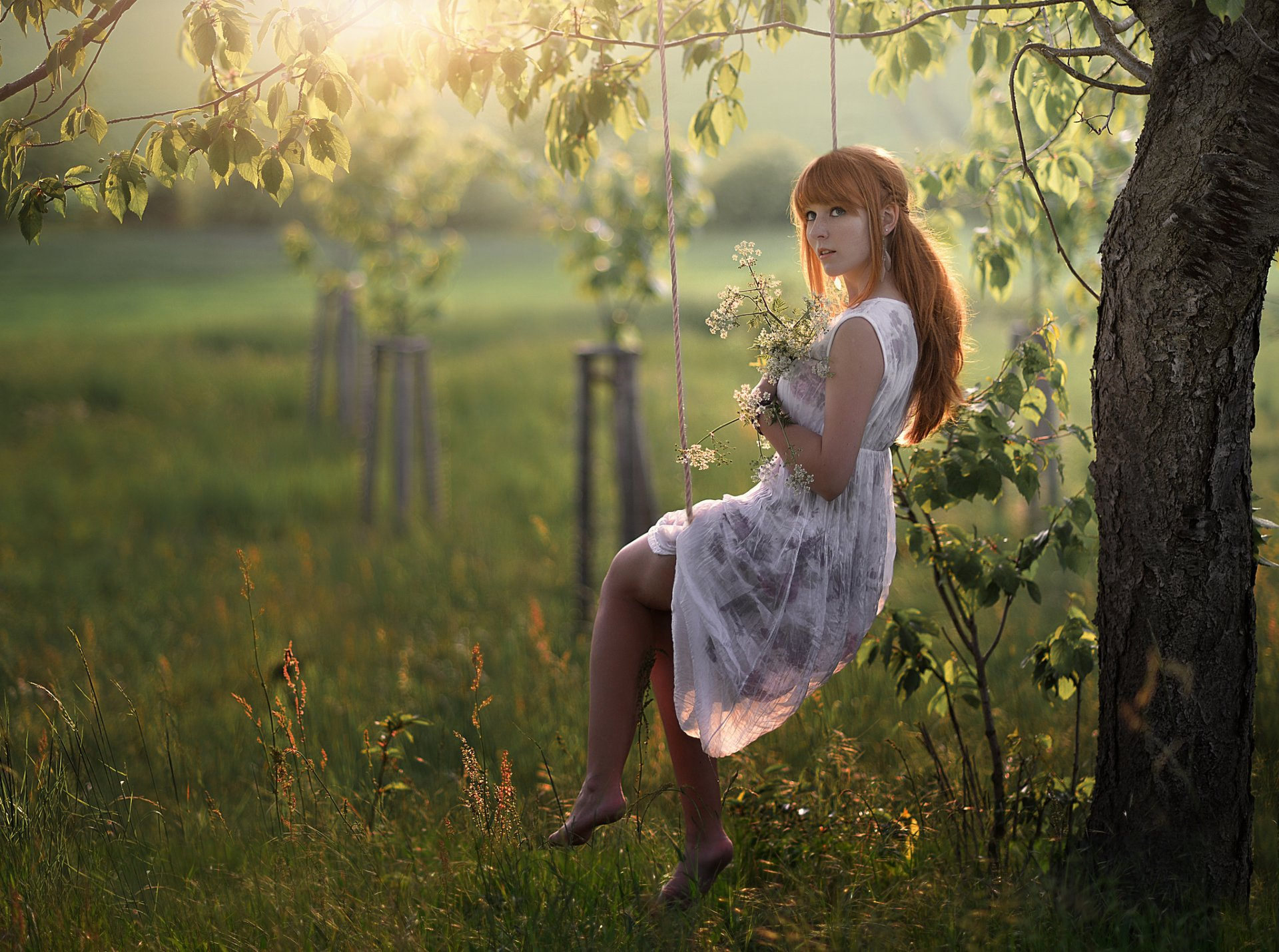 Women - Model  Woman Dress Sunny Redhead Wallpaper