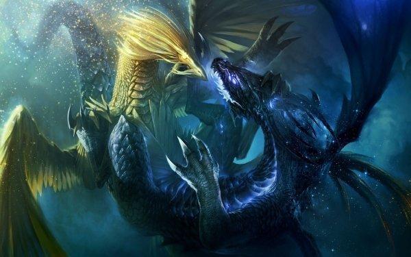Fantasy Dragon Fight HD Wallpaper | Background Image