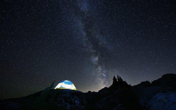 Fotografía Camping Noche Starry Sky Vía Láctea Tent Estrellas Fondo de pantalla HD | Fondo de Escritorio