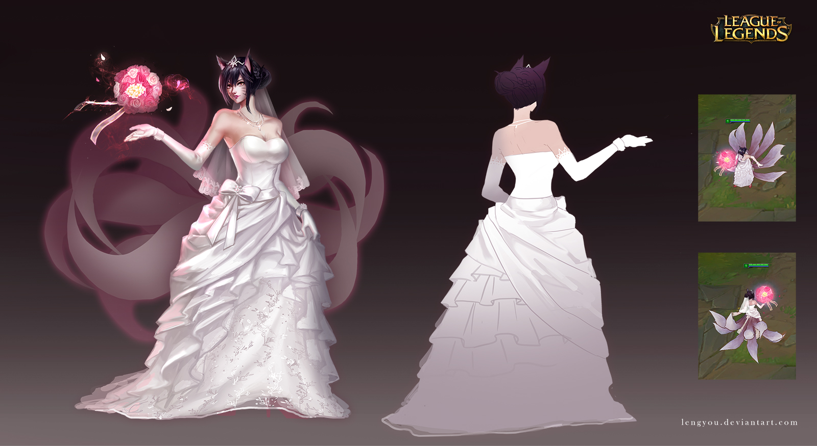 Wedding Gown Ahri Wallpaper and Background Image | 1600x875 | ID ...