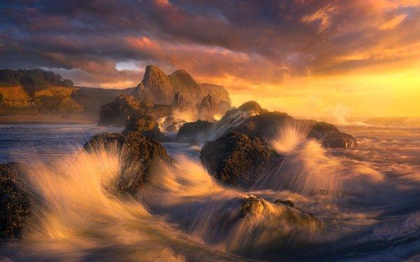Earth Coastline Nature Wave Rock Ocean HD Wallpaper | Background Image