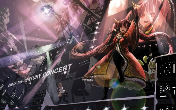 Anime Vocaloid Concert Hatsune Miku Twintails Long Hair Red Eyes Red Hair HD Wallpaper | Background Image