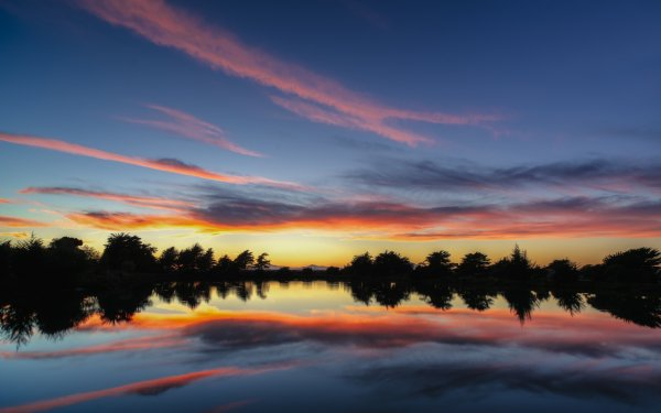 Earth Reflection Nature Water Sunset Cloud Landscape Tree HD Wallpaper | Background Image