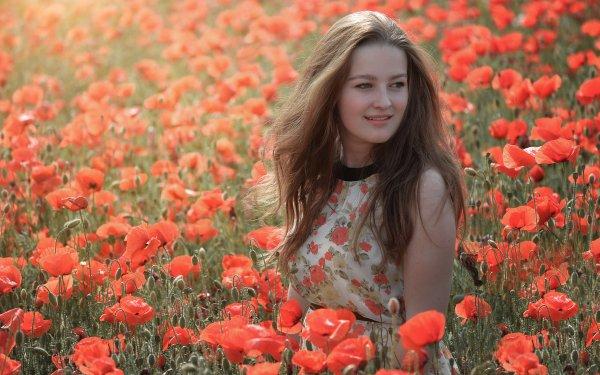 Women Model Models Field Poppy Red Flower Summer Brunette Dress Outdoor HD Wallpaper | Background Image