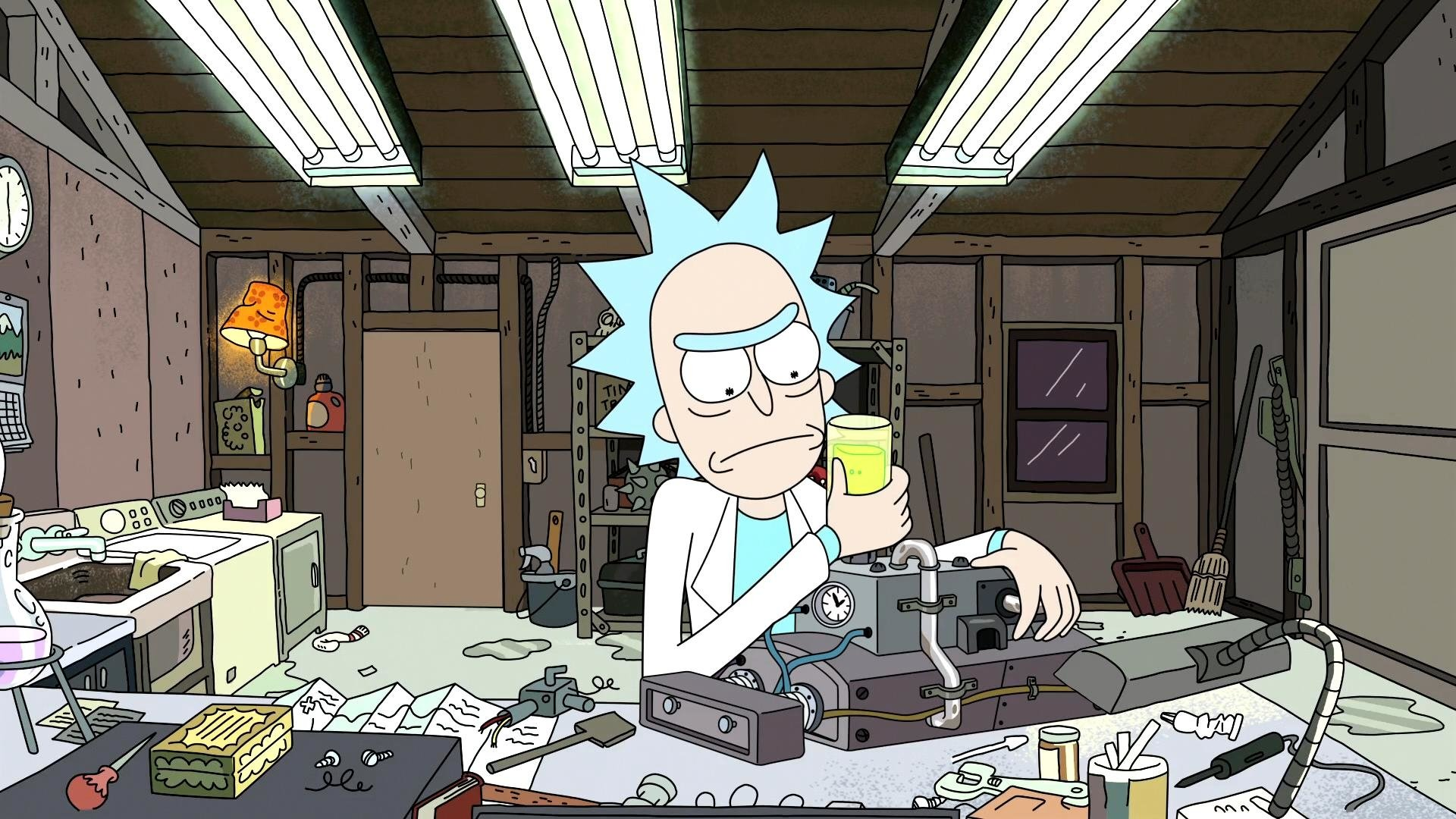 Rick Sanchez working on machine in garage