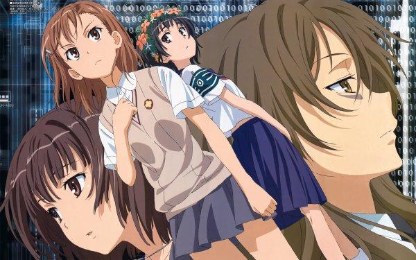 Anime A Certain Scientific Railgun A Certain Magical Index Mikoto Misaka Kazari Uiharu Harumi Kiyama Erii Haruue Brown Hair Brown Eyes Short Hair School Uniform Skirt HD Wallpaper | Background Image