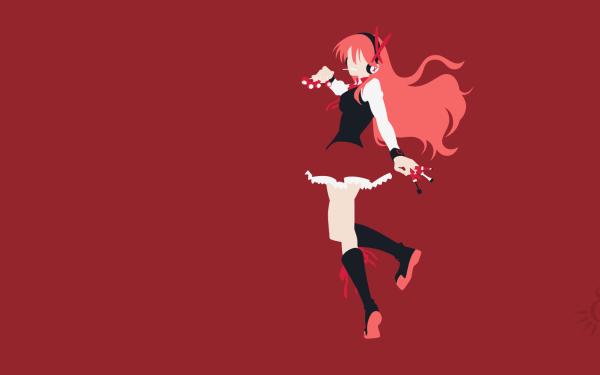 Anime Akame ga Kill! Chelsea Minimalist Skirt Boots Headphones Long Hair Red Hair Socks Bracelet HD Wallpaper | Background Image