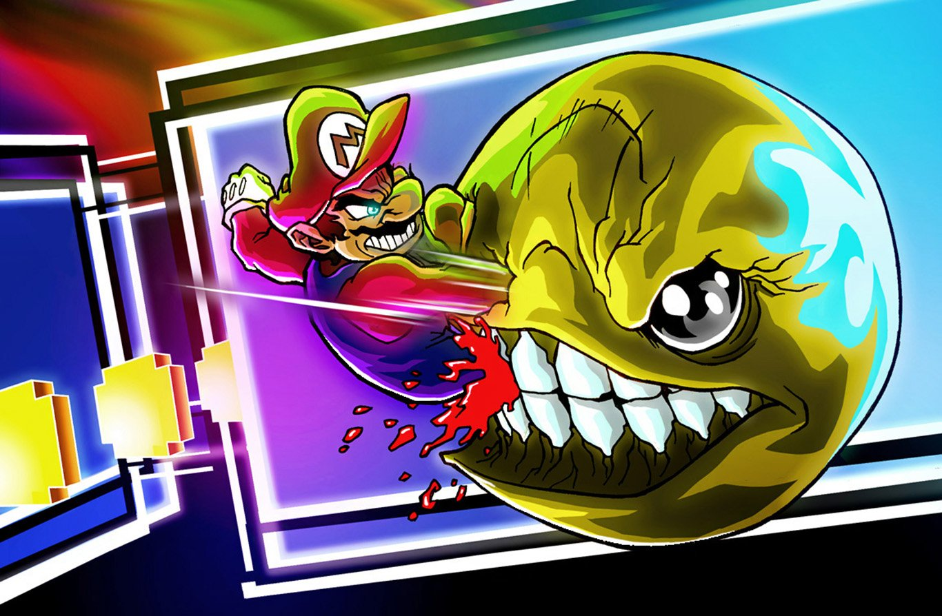Mario Vs Pac Man Wallpaper And Background Image 1366x894 Id 645929 Wallpaper Abyss