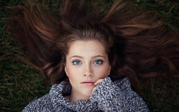 Women Model Models Woman Brunette Hair Blue Eyes Freckles HD Wallpaper | Background Image