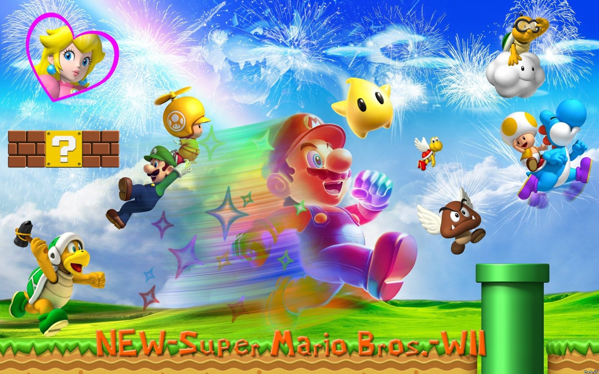Video Game - Super Mario Bros.  Koopa Troopa Mario Goomba Yoshi Luigi Toad (Mario) Princesse Peach Bowser Bakgrund