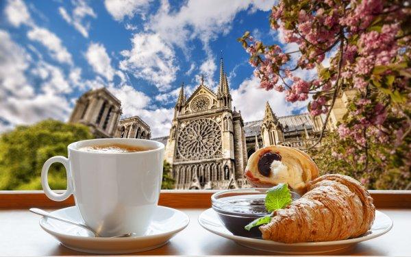 Alimento Desayuno Café Cup Croissant París Francia Catedral Primavera Catedral de Nuestra Señora de París Fondo de pantalla HD | Fondo de Escritorio