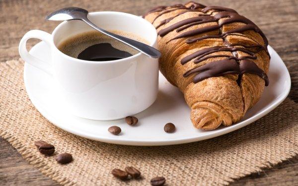 Alimento Desayuno Croissant Cup Café Coffee Beans Fondo de pantalla HD | Fondo de Escritorio