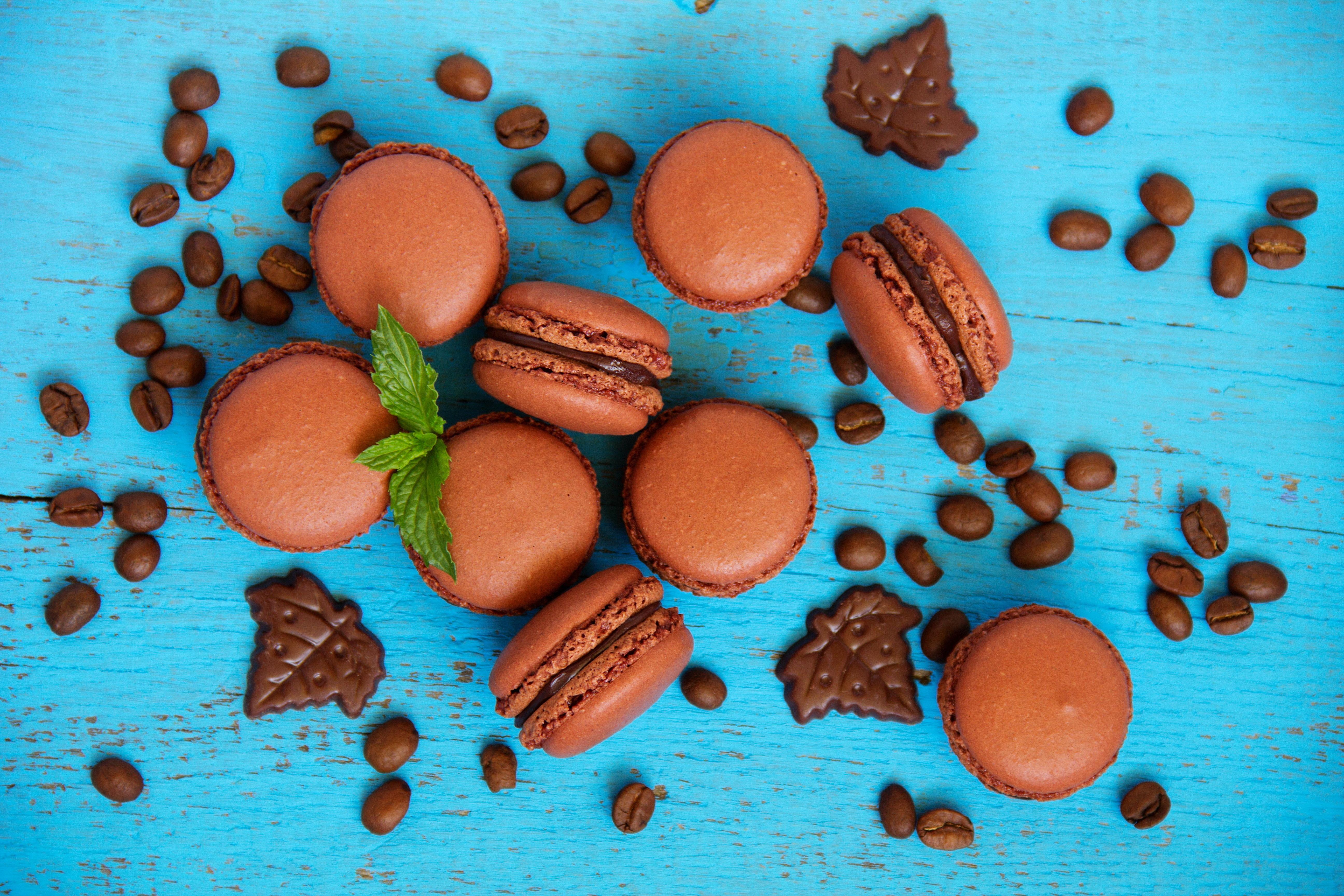 Nourriture - Macaron Macaroni Chocolat Coffee Beans Sucreries Fond d ...