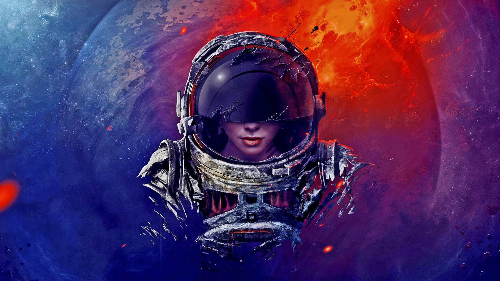 Sci Fi - Astronaut  Artistic Sci Fi Planet Woman Wallpaper