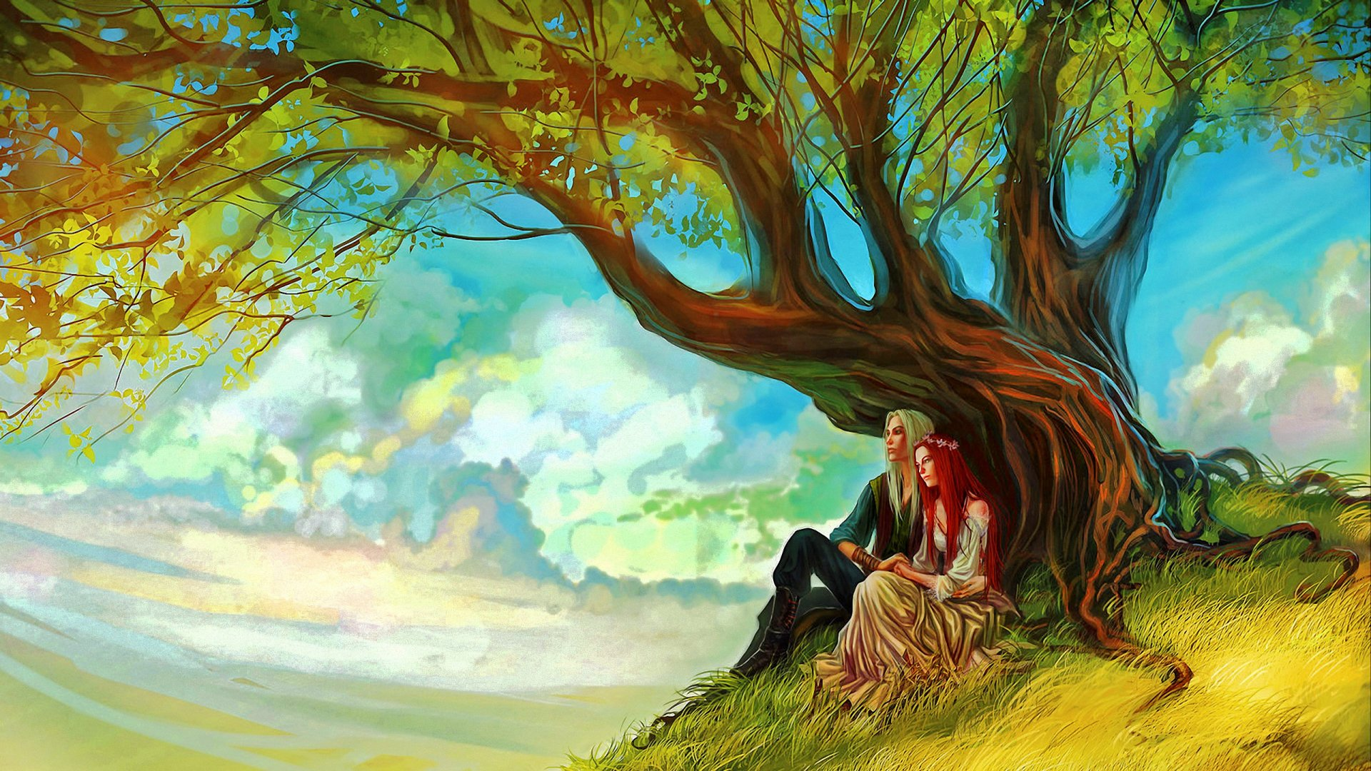 Love couple Painting Wallpaper : Elf Lovers Full HD Wallpaper and Background Image 2560x1440 ID:653553