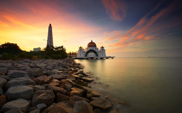 Religious Malacca Straits Mosque Mosques HD Wallpaper   Background Image