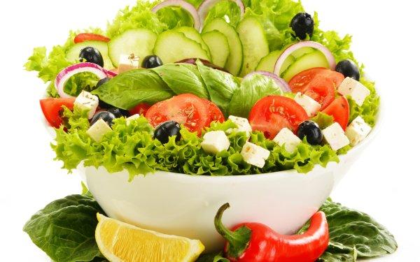 Food Salad Tomato Pepper Lemon Olive Cucumber HD Wallpaper | Background Image