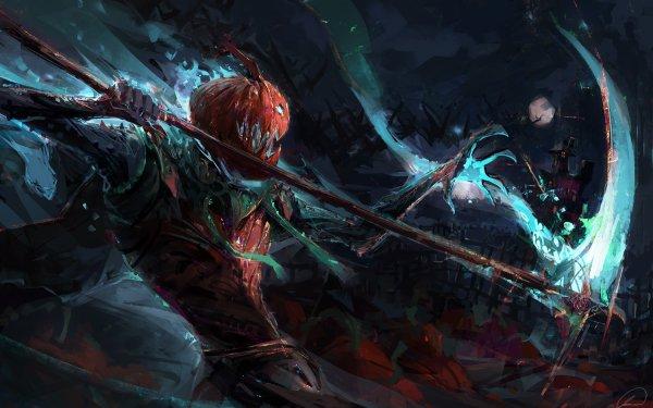 Fantasy Creature Halloween Pumpkin Warrior HD Wallpaper | Background Image