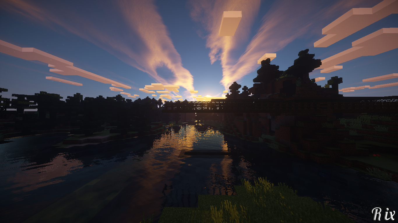 Minecraft Sunset Wallpaper And Background Image 1366x768 Id