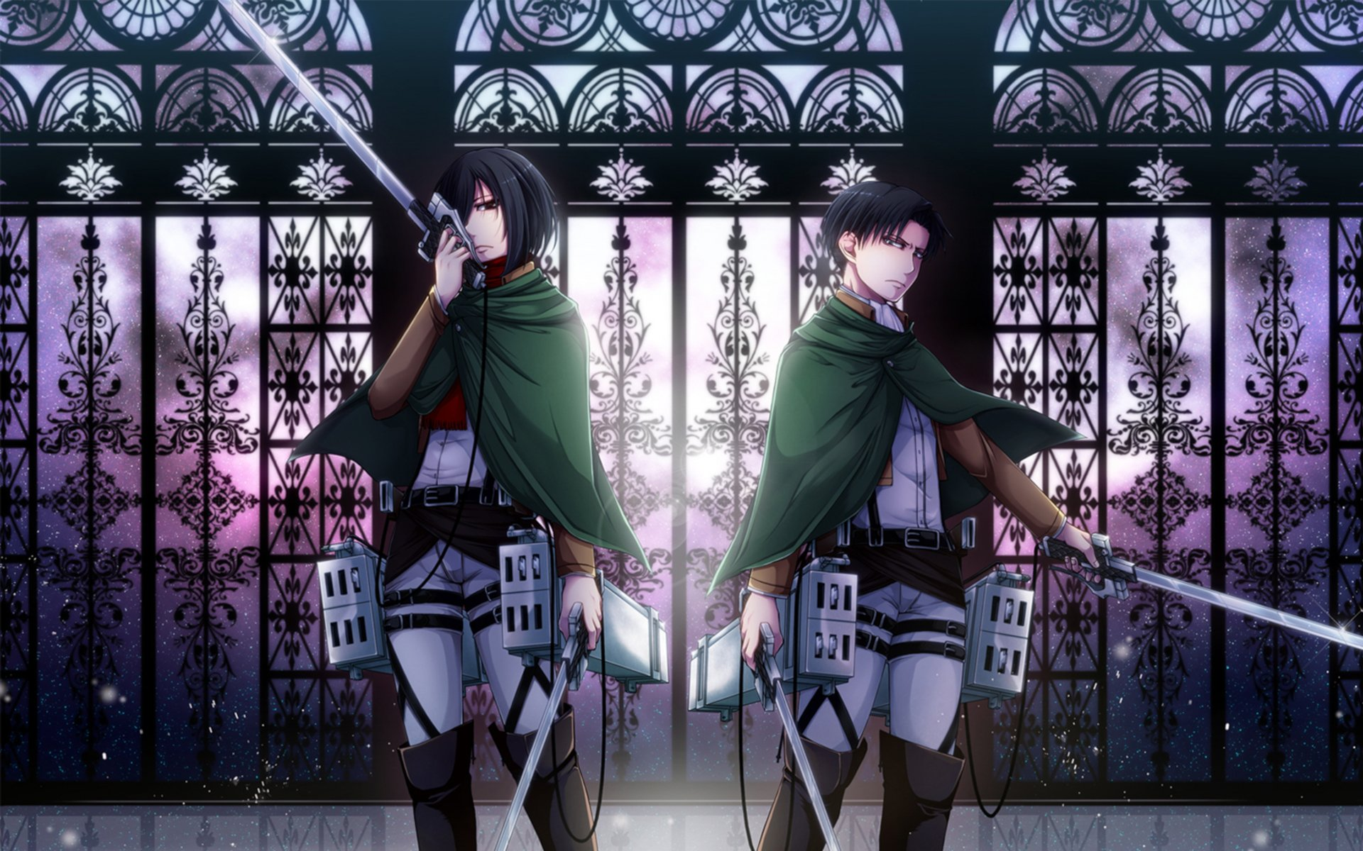 Anime - Attack On Titan  Levi Ackerman Mikasa Ackerman Wallpaper