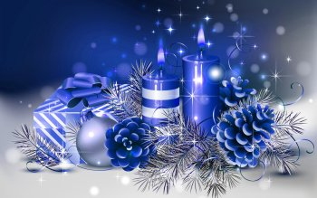 Holiday Christmas Gift Christmas Ornaments Blue Candle HD Wallpaper | Background Image