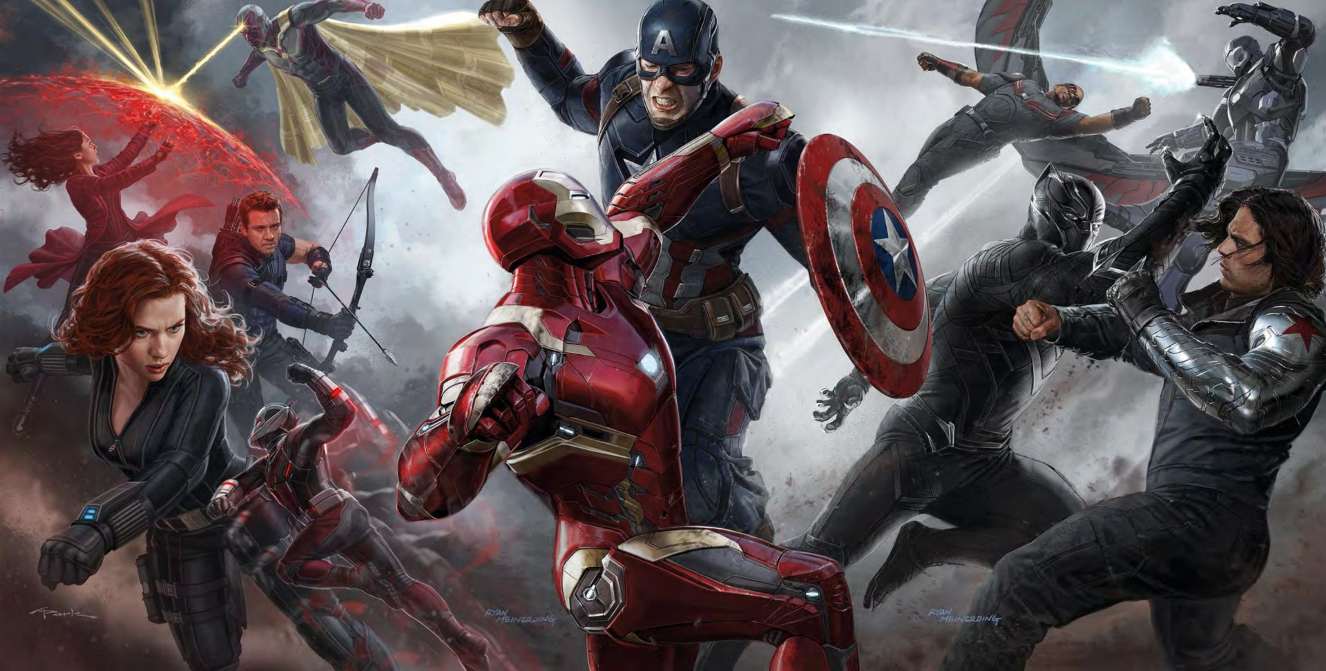 Movie - Captain America: Civil War  Iron Man Captain America Ant-Man Black Widow Natasha Romanoff Black Panther (Marvel Comics) Winter Soldier Falcon (Marvel Comics) Hawkeye Vision (Marvel Comics) Scarlet Witch War Machine Wallpaper