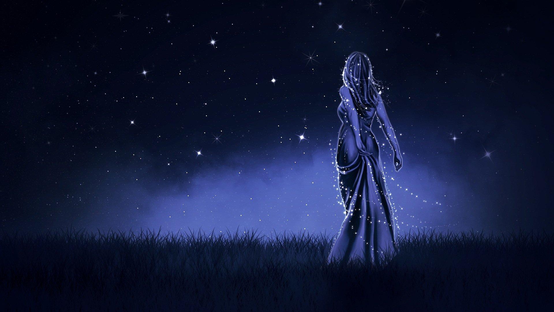 Fantasy - Women  Starry Sky Woman Blue Night Fantasy Wallpaper