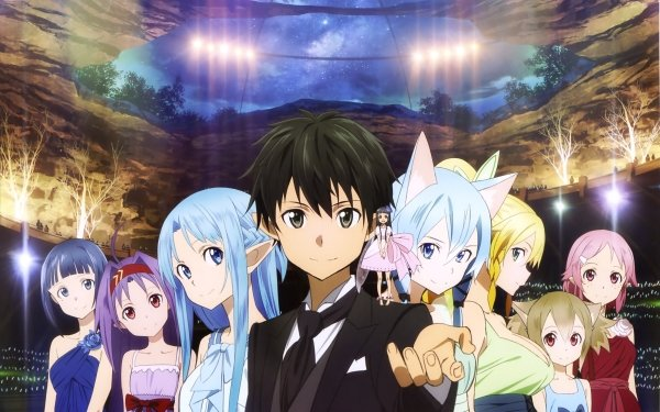 Anime Sword Art Online II Sword Art Online Lisbeth Silica Leafa Sinon Yui Kirito Asuna Yuuki Yuuki Konno Fee Pointed Ears HD Wallpaper | Hintergrund