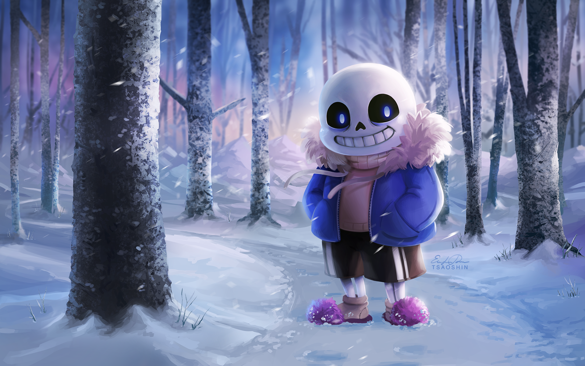 Video Game - Undertale  Creepy Snow Tree Forest Sans (Undertale) Wallpaper