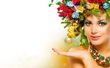 Women Model Models Christmas Ornaments Anna Subbotina New Year Colorful HD Wallpaper | Background Image