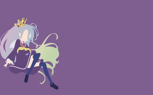 Anime No Game No Life Shiro Thigh Highs Dress Purple Dress Long Hair Grey Hair Crown Minimalist HD Wallpaper | Background Image