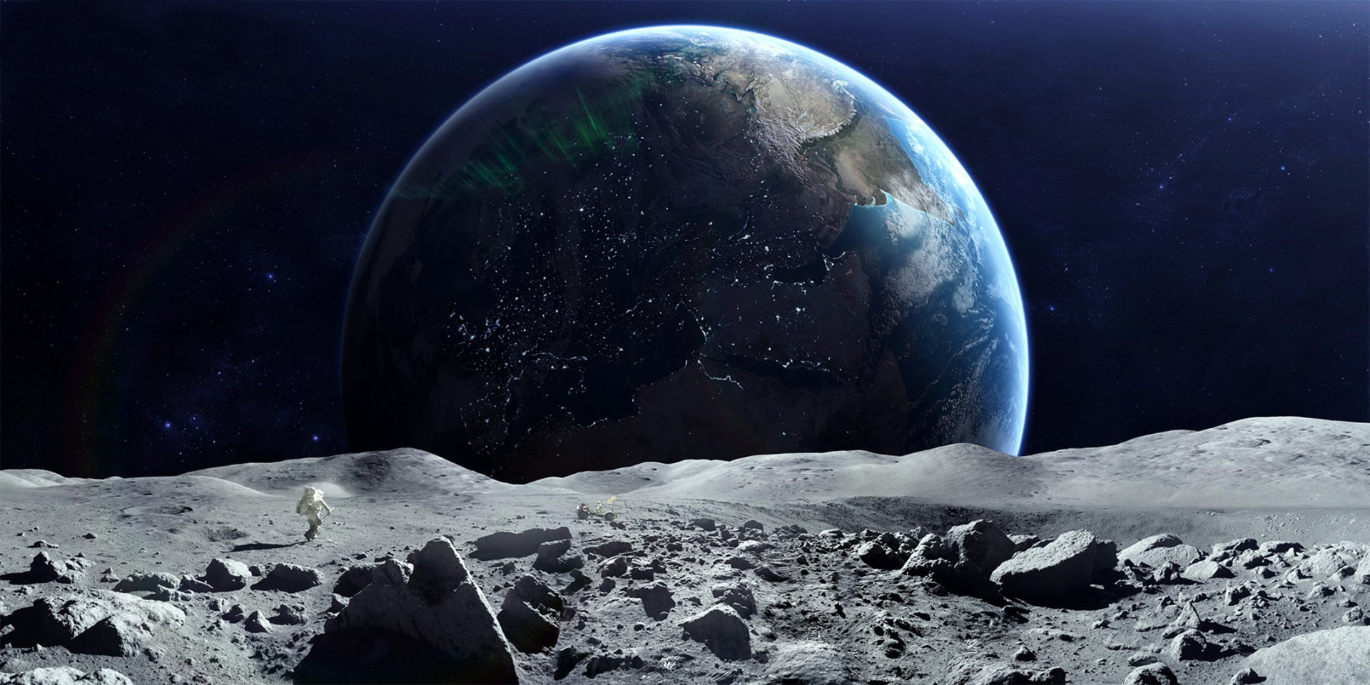 Sci Fi - Astronaut  Earth Moon Space Planet From Space Wallpaper