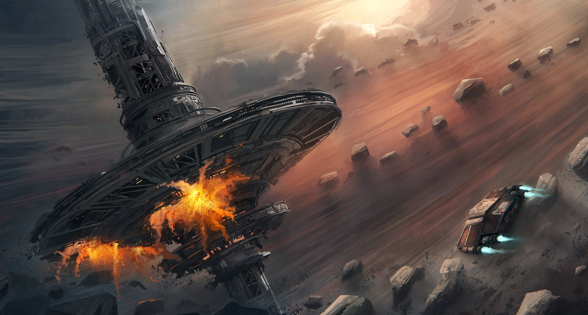 Sci Fi - Space Station  Spaceship Asteroid Explosion Wallpaper