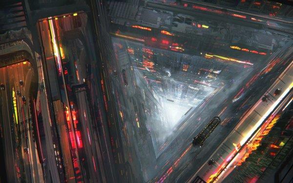Sci Fi City Futuristic Vehicle Skyscraper HD Wallpaper | Background Image