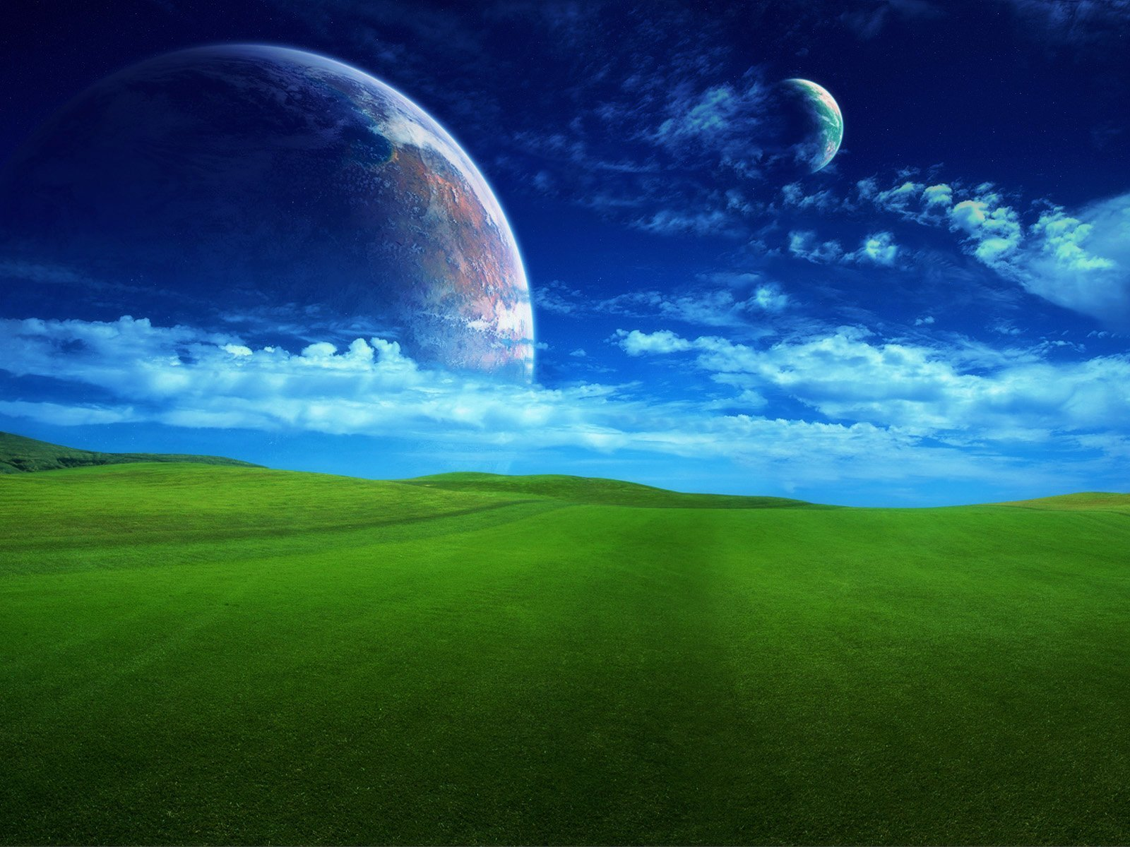 Earth - A Dreamy World  Planet Hill Green Wallpaper