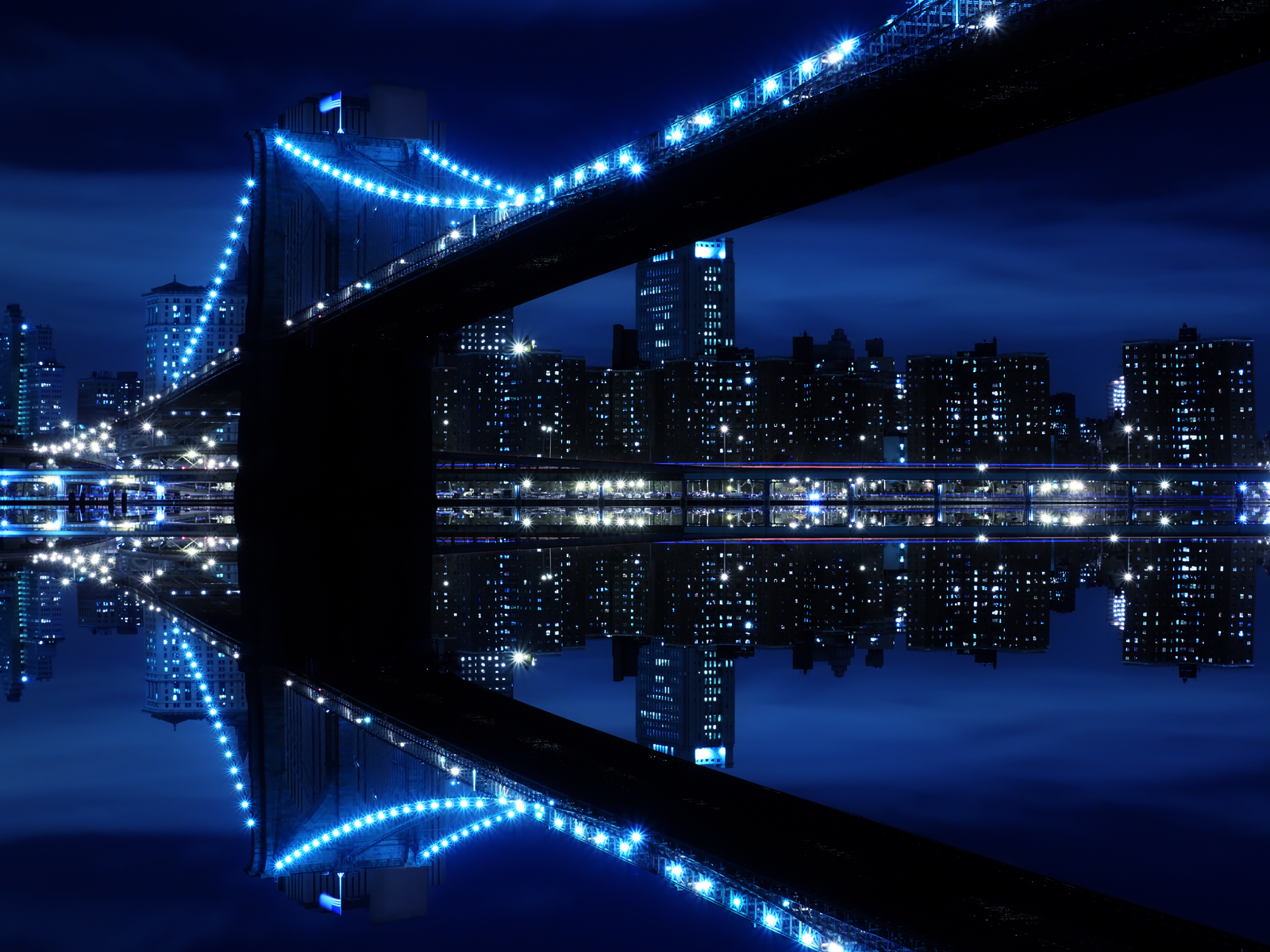 Blue City Night Reflection Wallpaper And Background Image