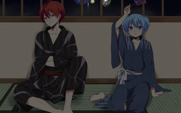 Anime Assassination Classroom Karma Akabane Nagisa Shiota Kimono Red Hair Aqua Hair Feet Feu d'artifice Fond d'écran HD | Image
