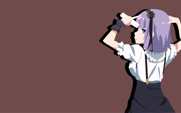 Anime Dagashi Kashi Shidare Hotaru Purple Hair Blue Eyes Headband Skirt Minimalist HD Wallpaper | Background Image