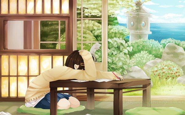 Anime Original Desk Book School Uniform Short Hair Brown Hair Pen Skirt HD Wallpaper | Background Image